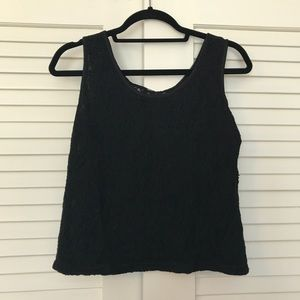 Tops - VINTAGE Black Lace Tank with Sheer Back